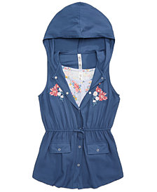 Beautees Big Girls 2-Pc. Embroidered Anorak & Floral-Print Cami Set