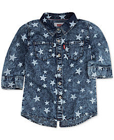 Levi's® Cotton Star-Print Western Shirt, Big Girls