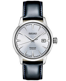 Seiko Men's Automatic Presage Black Leather Strap Watch 40.5mm