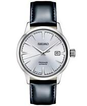 e158cbb38 Seiko Men's Automatic Presage Black Leather Strap Watch 40.5mm