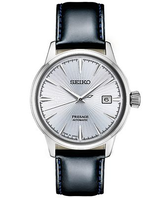 Seiko Automatic Presage Black Leather Strap Men's Watch