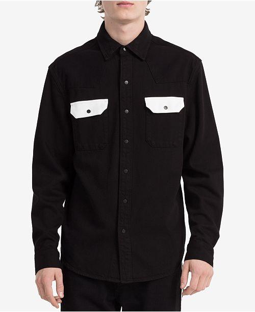 3e2d07f4a35 Calvin Klein Jeans Men s Archive Contrast Pocket Western Shirt ...