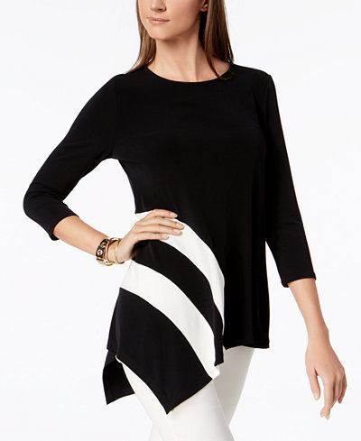 Alfani Petite Asymmetrical Top, Created for Macy's