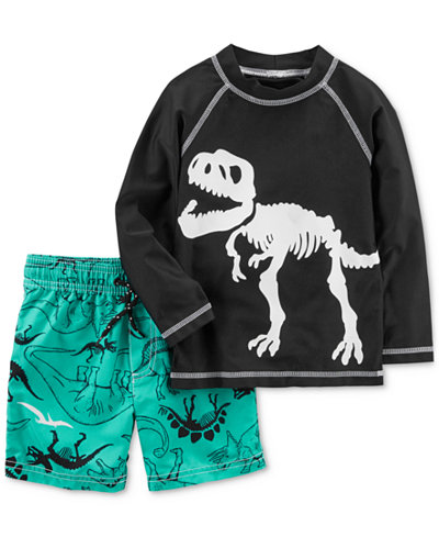 Carter 2-Pc. Dino-Print Rash Guard Set, Toddler Boys