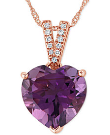 "Amethyst (3-1/5 ct. t.w.) & Diamond Accent 18"" Pendant Necklace in 14k Rose Gold"