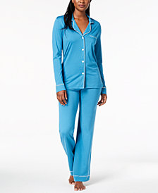 Cosabella Bella Satin-Trim Long-Sleeve Pajama Set AMORE9641, Online Only