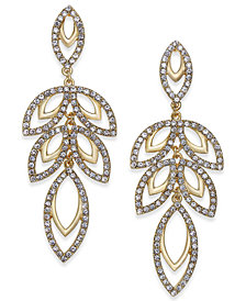 I.N.C. Gold-Tone Pavé Leaf Drop Earrings, Only at Macy's