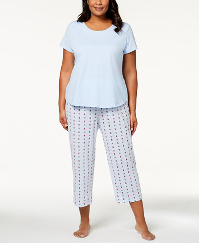 Charter Club Plus Size Solid Knit Pajama Top & Printed Capri Pants Sleep Separates, Created for Macy's