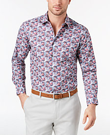 Tallia Men's Slim-Fit Blue Floral-Print Dress Shirt