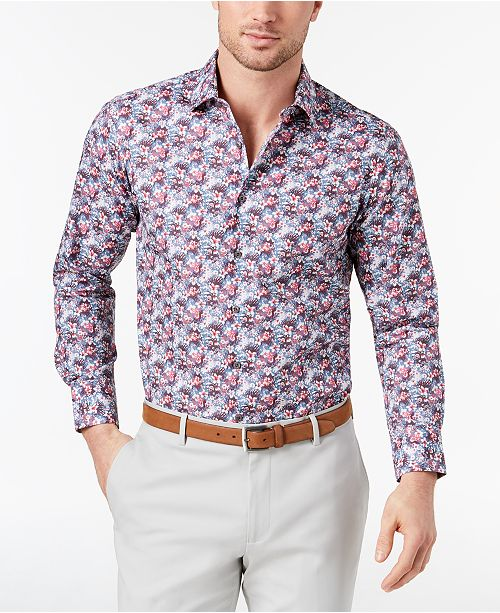 5d157a9b74 Tallia Men s Slim-Fit Blue Floral-Print Dress Shirt   Reviews ...