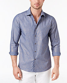 Tallia Men's Slim-Fit-Fit Chambray Metallic Paisley-Print Pinstripe Dress Shirt