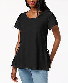 Style & Co Flutter-Sleeve Lace-Up T-Shirt, Created for Macy's