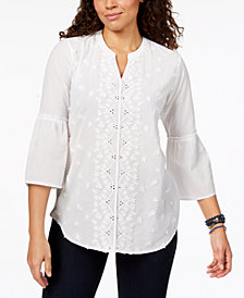 Style & Co Petite Floral-Appliqué Blouse, Created for Macy's