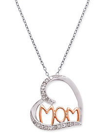 "Diamond Mom Heart 18"" Pendant Necklace (1/10 ct. t.w.) in Sterling Silver & 18k Rose Gold-Plate"