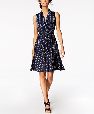 Petite Printed Belted Fit & Flare Shirtdress, Created For Macy's by Charter Club