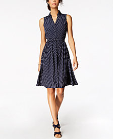 Charter Club Petite Printed Belted Fit & Flare Shirtdress, Created for Macy's