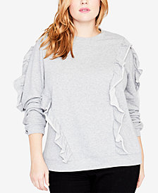 RACHEL Rachel Roy Trendy Plus Size Ruffled Sweatshirt