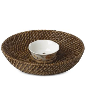 Butterfly Meadow Rattan Chip & Dip With Bowl
