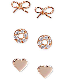 UnWritten 3-Pc. Set Stud Earrings in Rose Gold-Flashed Sterling Silver