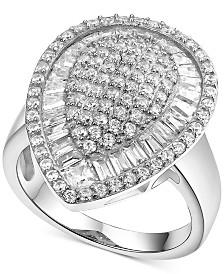 Cubic Zirconia Teardrop Cluster Ring in Sterling Silver
