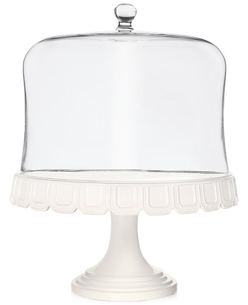 Martha Stewart Collection CLOSEOUT! Martha Stewart  Collection Facet Cake Stand With Dome, Created for Macy's
