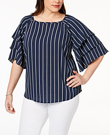 Charter Club Plus Size Striped Tiered-Sleeve Blouse, Created for Macy's