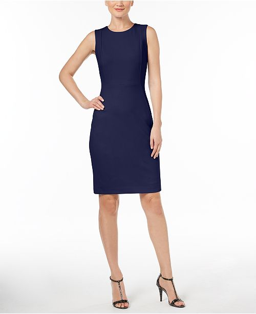 1bb1a75d793b8 Calvin Klein Petite Scuba Crepe Sheath Dress - Dresses - Women - Macy s