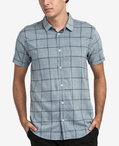 RVCA Men's Handle Windowpane Button-Up Shirt
