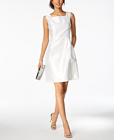 Ellen Tracy Petite Square-Neck Sheath Dress