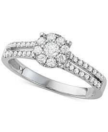 Diamond Halo Engagement Ring (1/2 ct. t.w.) in 14k White Gold