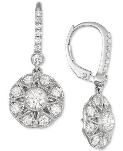 Diamond Cluster Drop Earrings (1-3/8 ct. t.w.) in 18k White Gold