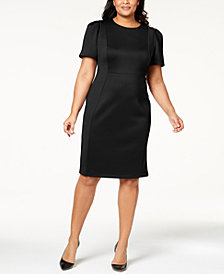 Calvin Klein Plus Size Puff-Sleeve Scuba Sheath Dress