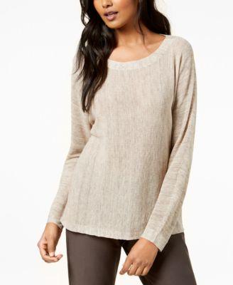 Scoop-Neck Long-Sleeve Sweater, Regular & Petite