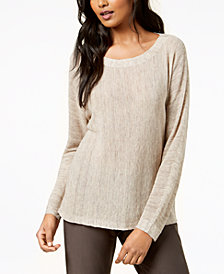 Eileen Fisher Scoop-Neck Long-Sleeve Sweater, Regular & Petite