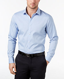 Ryan Seacrest Distinction™ Men's Ultimate Active Slim-Fit Non-Iron Performance Stretch Blue Minicheck Dress Shirt, Created for Macy's