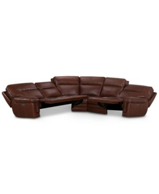 """Myars 5-Pc. """"L"""" Shaped Leather Sectional Sofa With 3 Power Recliners, Power Headrests And USB Power Outlet, Created for Macy's"""