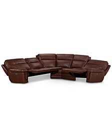 "Myars 5-Pc. ""L"" Shaped Leather Sectional Sofa With 3 Power Recliners, Power Headrests And USB Power Outlet, Created for Macy's"