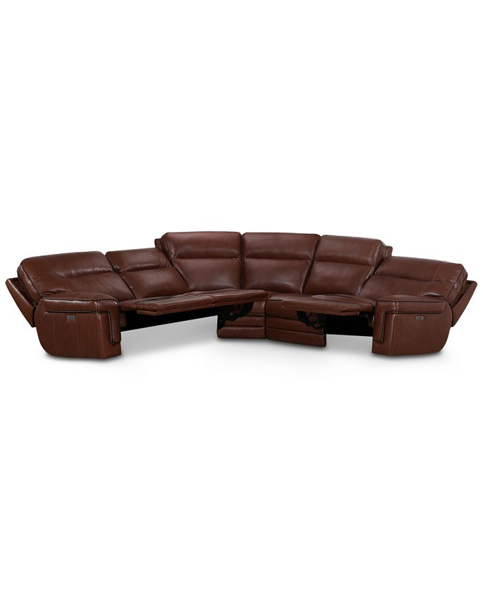 """Furniture - Myars 5-Pc. """"L"""" Shaped Leather Sectional Sofa With 3 Power Recliners, Power Headrests And USB Power Outlet, Created for Macy's"""