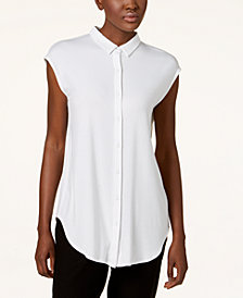 Eileen Fisher Stretch Jersey Cap-Sleeve Shirt, Created for Macy's