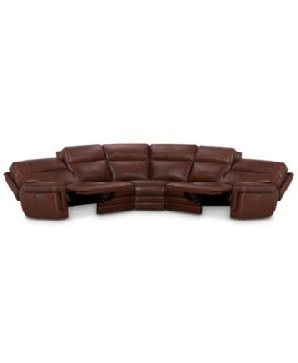 """Myars 5-Pc. """"L"""" Shaped Leather Sectional Sofa With 2 Power Recliners, Power Headrests And USB Power Outlet, Created for Macy's"""