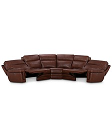 "CLOSEOUT! Myars 5-Pc. ""L"" Shaped Leather Sectional Sofa With 2 Power Recliners, Power Headrests And USB Power Outlet, Created for Macy's"