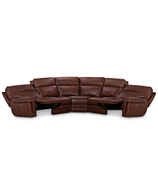 "Myars 5-Pc. ""L"" Shaped Leather Sectional Sofa With 2 Power Recliners, Power Headrests And USB Power Outlet, Created for Macy's"