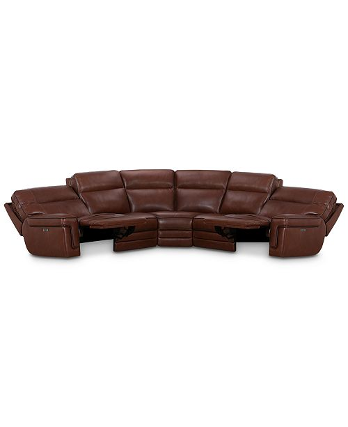 Myars 5-Pc. L Shaped Leather Sectional Sofa With 2 Power Recliners, Power  Headrests And USB Power Outlet, Created for Macy\'s