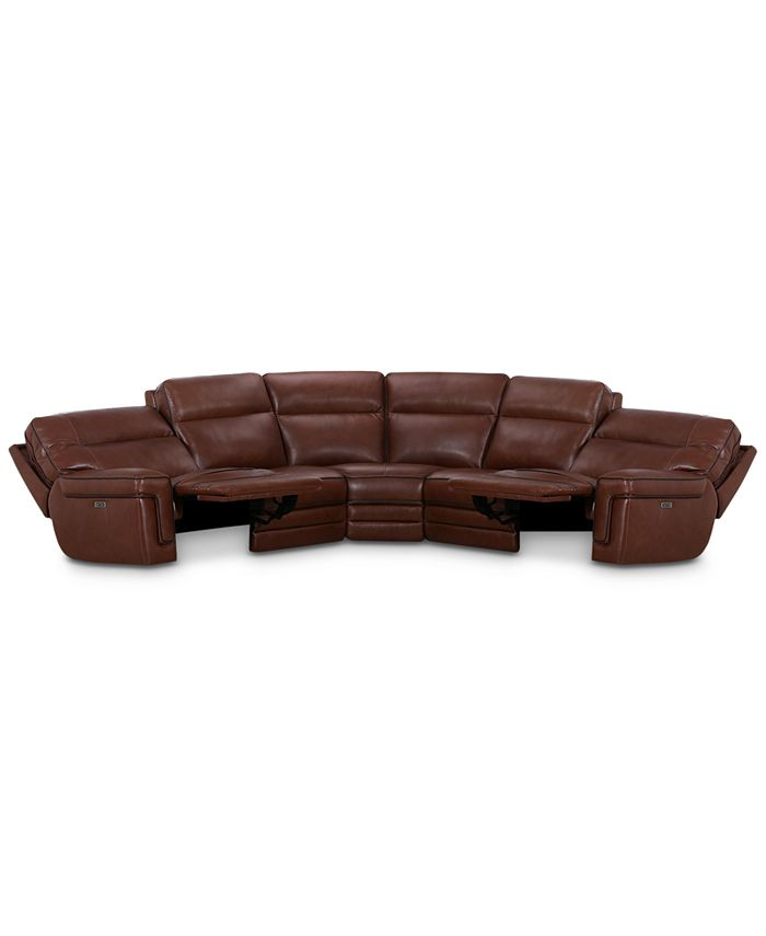 """Furniture - Myars 5-Pc. """"L"""" Shaped Leather Sectional Sofa With 2 Power Recliners, Power Headrests And USB Power Outlet, Created for Macy's"""