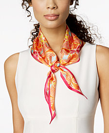 Echo Coastal Tile Silk Diamond Bandana Scarf