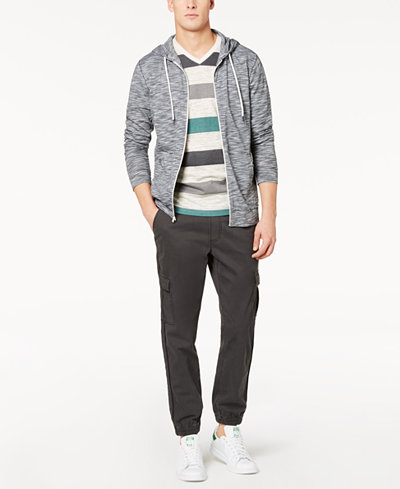 American Rag Men's Space Dyed Hoodie, Stripe V-Neck T-Shirt & Cargo Joggers, Created for Macy's