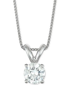 "Certified Diamond Solitaire 18"" Pendant Necklace (1/2 ct. t.w.) in 14k Gold or White Gold"