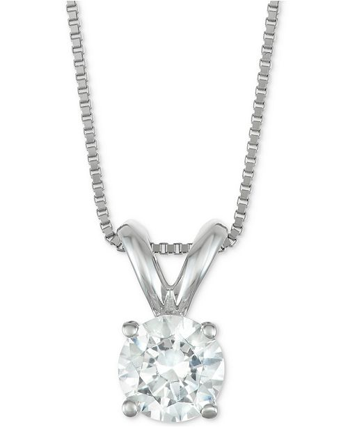 "Macy's Star Signature Diamond Certified Diamond Solitaire 18"" Pendant Necklace (1/2 ct. t.w.) in 14k Gold or White Gold"