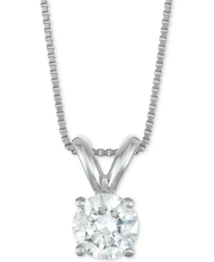 """Certified Diamond Solitaire 18"""" Pendant Necklace (1/2 ct. t.w.) in 14k Gold or White Gold"""