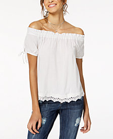 Crave Fame by Almost Famous Juniors' Off-The-Shoulder Gingham Top